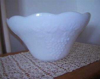 1950s Antique Milkglass Punchbowl with Grape Design