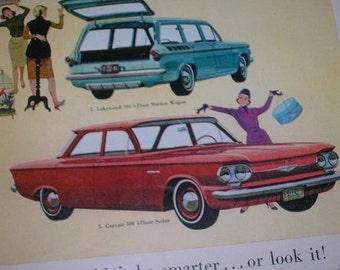 Vintage 1961 Chevy Corvair Framed Ephemera