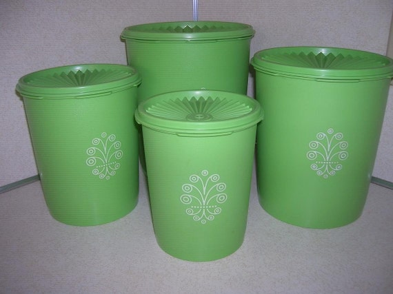apple green tupperware canister set mint condition by raesvintage. Black Bedroom Furniture Sets. Home Design Ideas