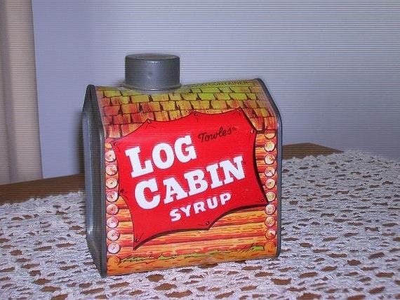 Vintage towles log cabin syrup tin bank