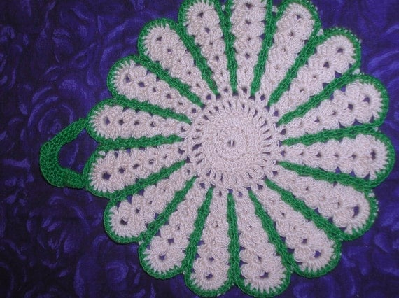 Hand Crocheted Potholder, Cotton, Beige and Green