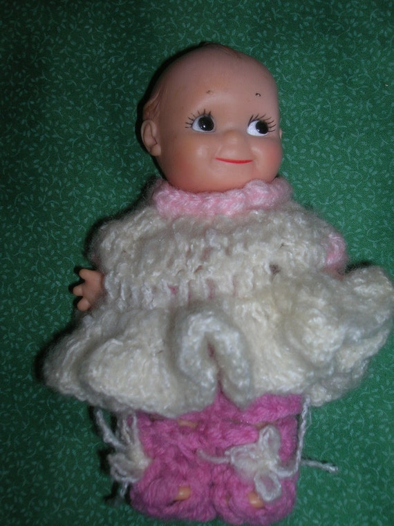 Adorable Kewpie Doll with Crocheted Clothing, Marked- Cameo