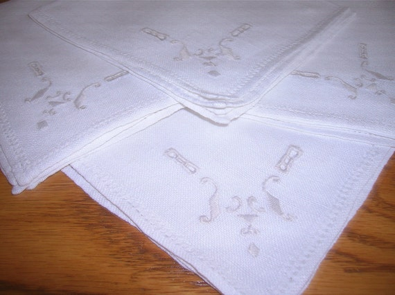 Lovely, Linen Cocktail or Luncheon Napkins, Very Soft White, Embroidered, Pulled Threadwork, Imaculate Condition