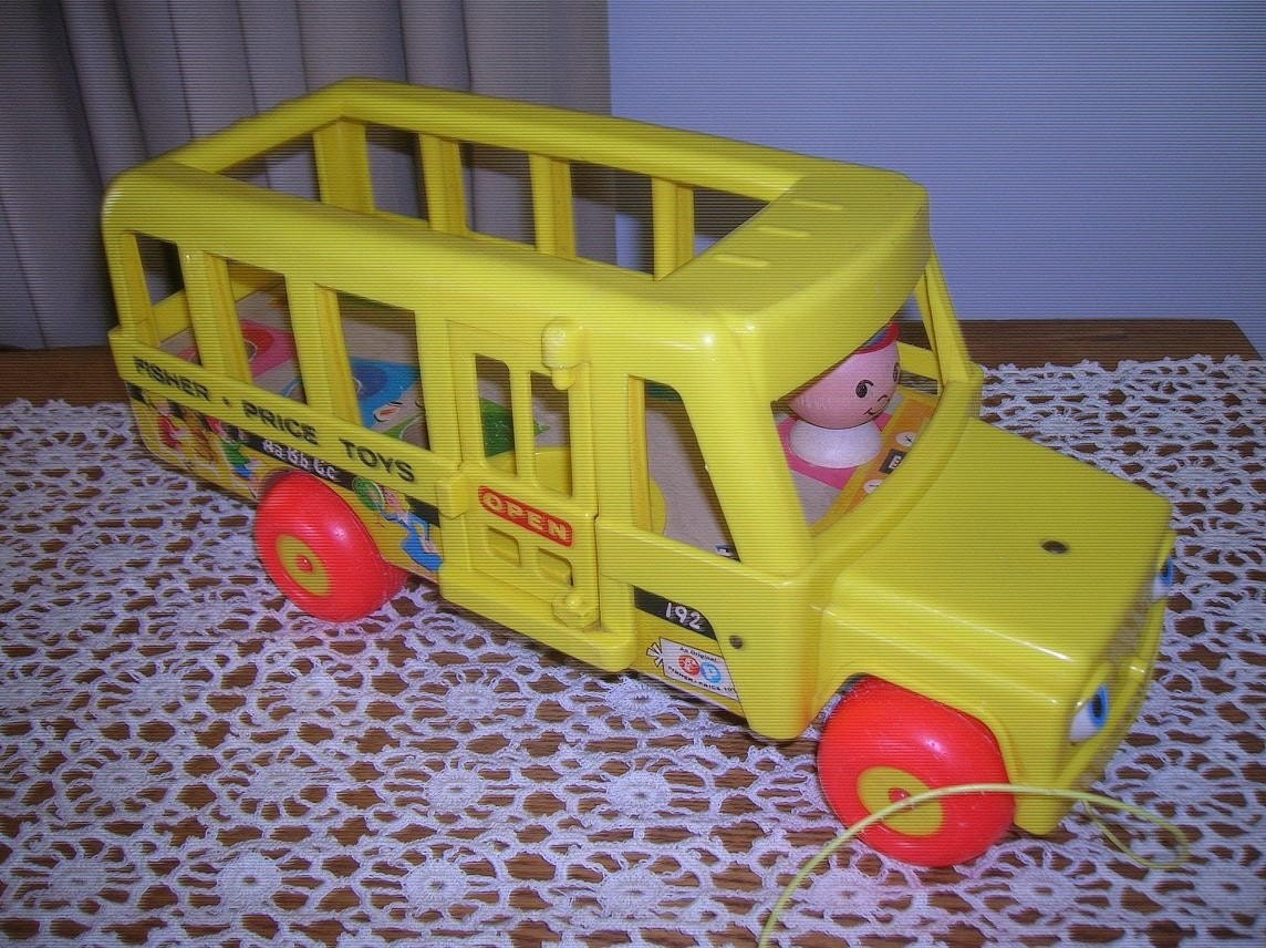1965 Toys For Boys : Vintage fisher price school bus pull toy by raesvintage
