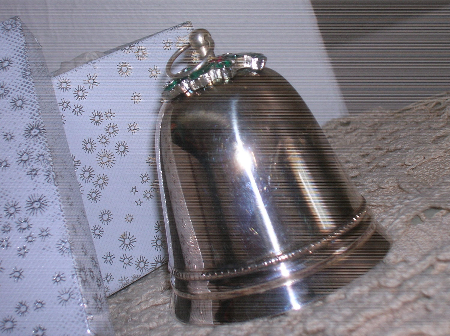 Silver christmas bell engraved signed wallace