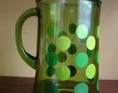 Great retro polka dot pitcher... large... vintage green