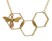 Honey bee honeycomb necklace in gold or silver plated
