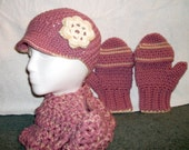 Hat, Glove/Mitten, Scarf Set - Available in all colors