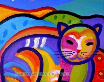 Psychedelic Cat, Original Painting on Canvas, 12 x 12 Inches
