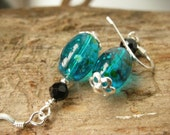 Sterling Silver Turquoise Glass Earrings