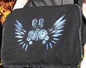 Clockwork Wings Messenger Bag -Foil Print on Black-