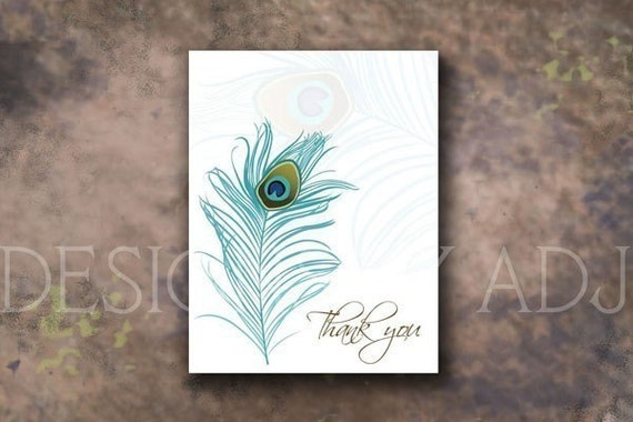 Peacock Thank You Cards Set of 25
