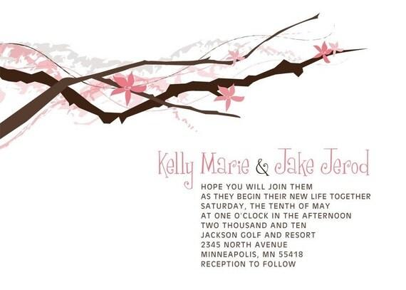 Floral Branch Wedding Invitation Set Sample