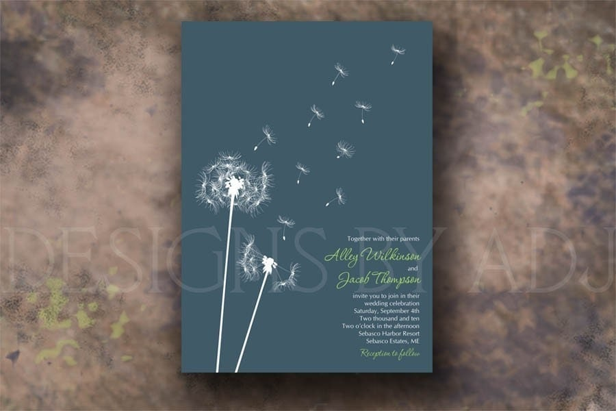dandelion wedding invitation sample set