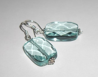 Sterling Silver Blue Quartz Faceted Earrings