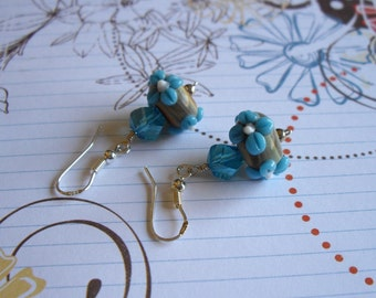 Lampwork Beads and Twisted Blue Crystal Earrings in Sterling Silver