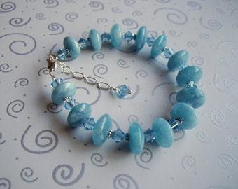 Natural Aquamarine and Swarovski Crystal sterling silver bracelet