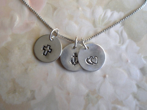 Hand Stamped Faith Hope and Charity in Sterling Silver