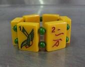 Handmade Vintage Bakelite Mah Jong Bracelet w/ Green beads