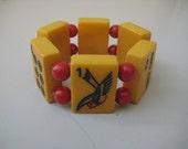 Handmade Vintage Bakelite Mah Jong Bracelet Red beads