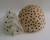 1920s Style Straw Skull Cap with Black Sequins Antique Cream Flapper Reproduction Vintage