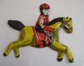 Vintage Tin Toy Piece Horse and Rider