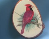 Vintage Plaque Wall Hanging Red Cardinal