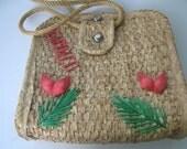 Vintage Straw Tote Bag Souvenir