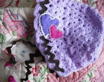 Crochet Baby Hat with Hearts and Vintage Trim