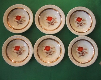 Vintage Bowls Orange Rose Set of 6