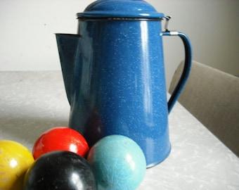 Vintage Coffee Pot Blue Enamel Graniteware
