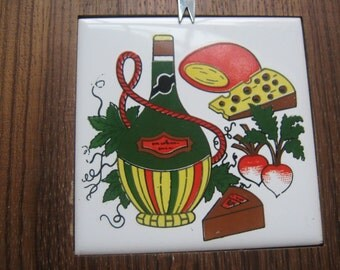 Vintage Cheese Cutting Board Italian Wine Design