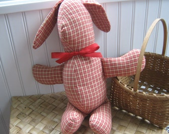 Vintage Toy Rabbit Stuffed Cottage Country Gingham