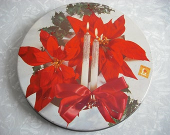 Vintage Christmas Candy Tin Poinsettia Candle Holly