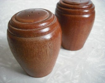 Vintage Wood Salt and Pepper Shakers Danish Modern