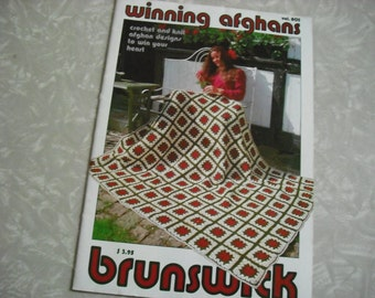Vintage Crochet Knitting Book Blanket Afghan Brunswick Yarn