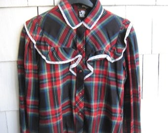 Vintage Shirt Blouse Plaid Country Western Cowgirl