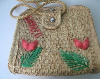 Vintage Straw Tote Bag Souvenir Mexico