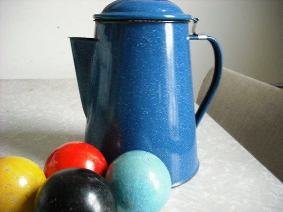 Vintage Coffee Pot Blue Enamel Graniteware