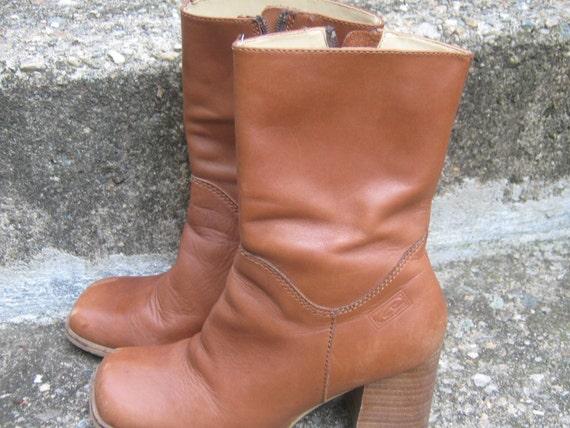Vintage Boots Tan Leather Boho