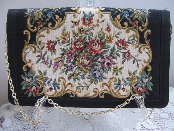 Vintage Tapestry Clutch Handbag Delill