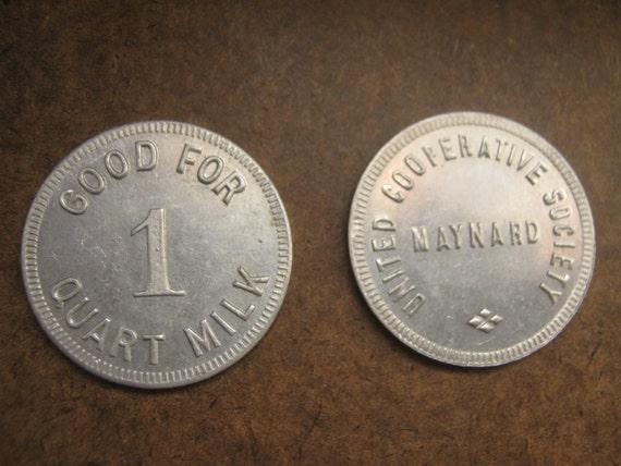 Vintage Token Coin Quart of Milk