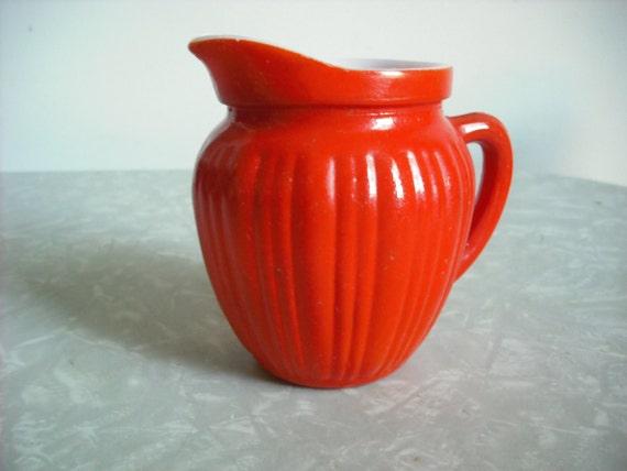 Vintage Glass Pitcher Creamer Orange Hazel Atlas