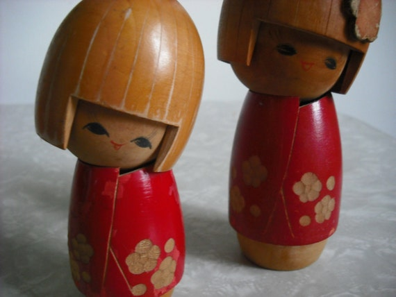 Vintage Doll Japanese Kokeshi Kawaii Pair