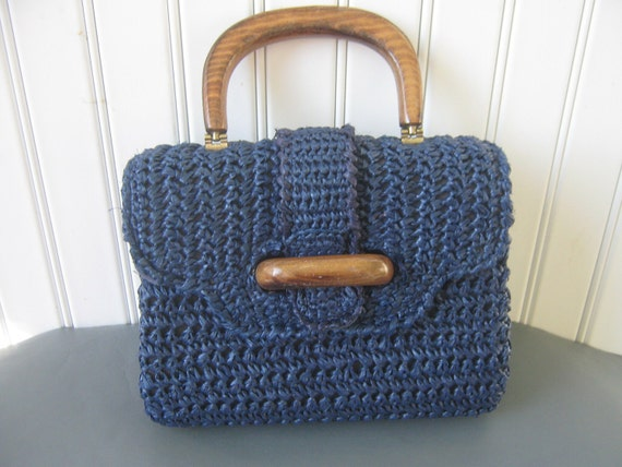 Vintage Purse Handbag Navy Blue Straw