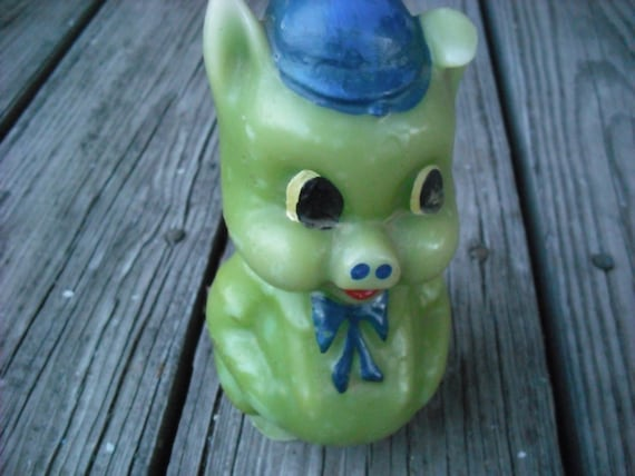 Vintage Candle Porky the Pig Pop Art Lime Green and Blue