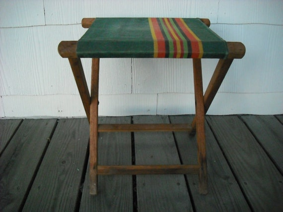Vintage Camping Stool Seat Canvas Folding Wood By