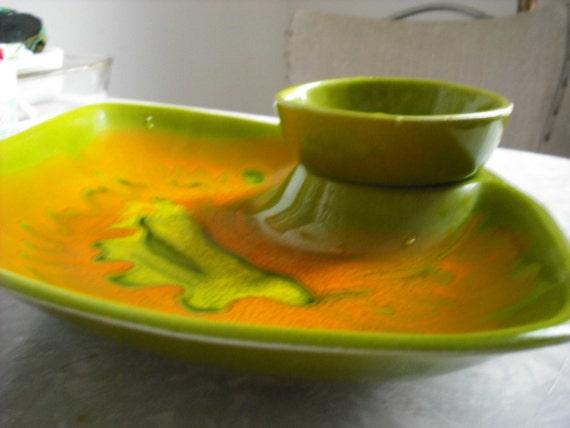 Reserve for Diane Vintage Chip Dip Bowl  Dish Avocado Green Orange