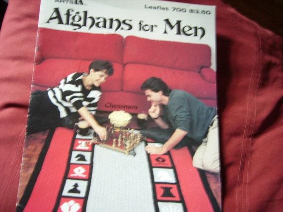 Vintage Pattern Book Crochet  Afghans For Men