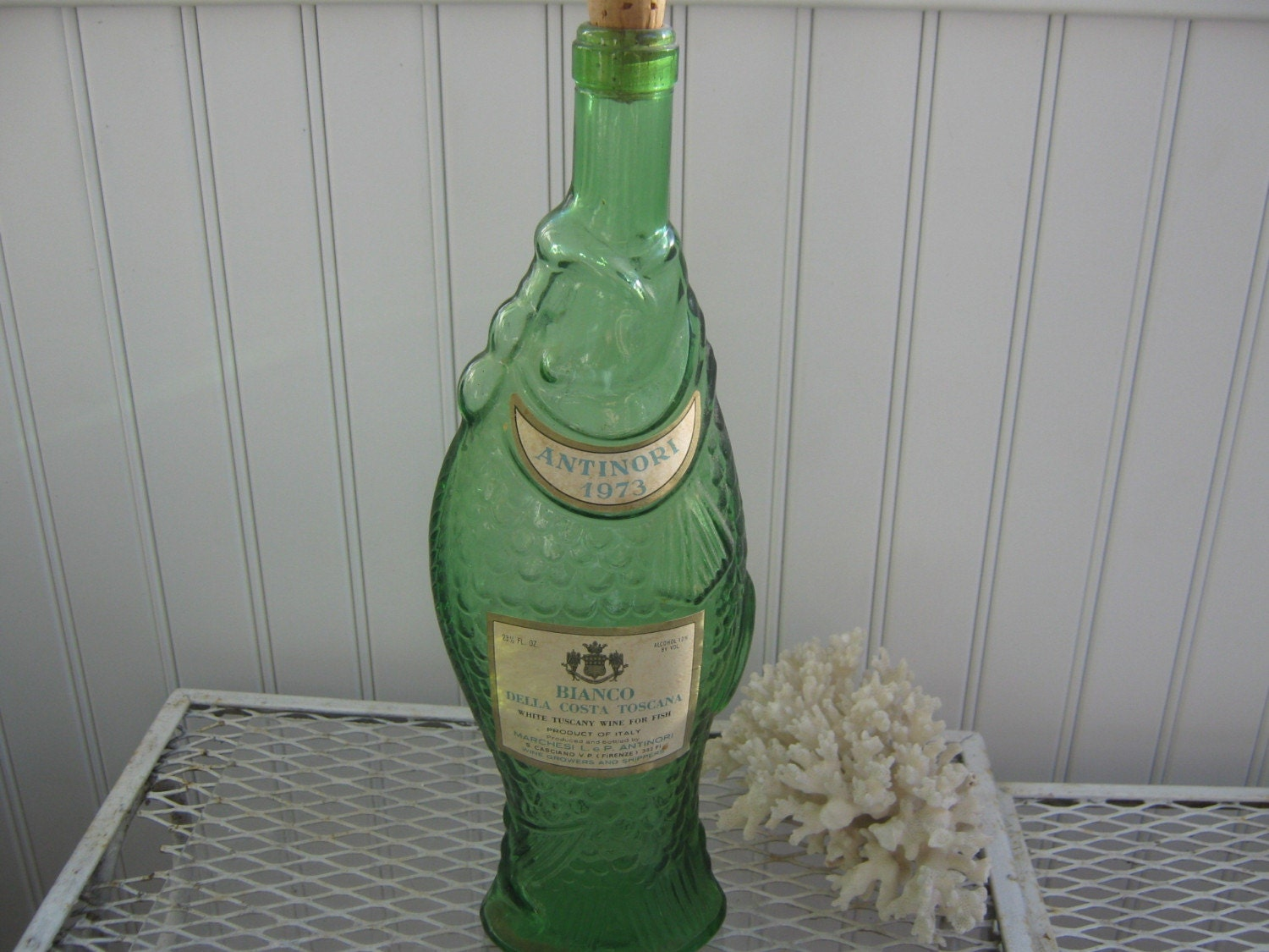 Vintage green fish wine bottle italy for Wine with fish